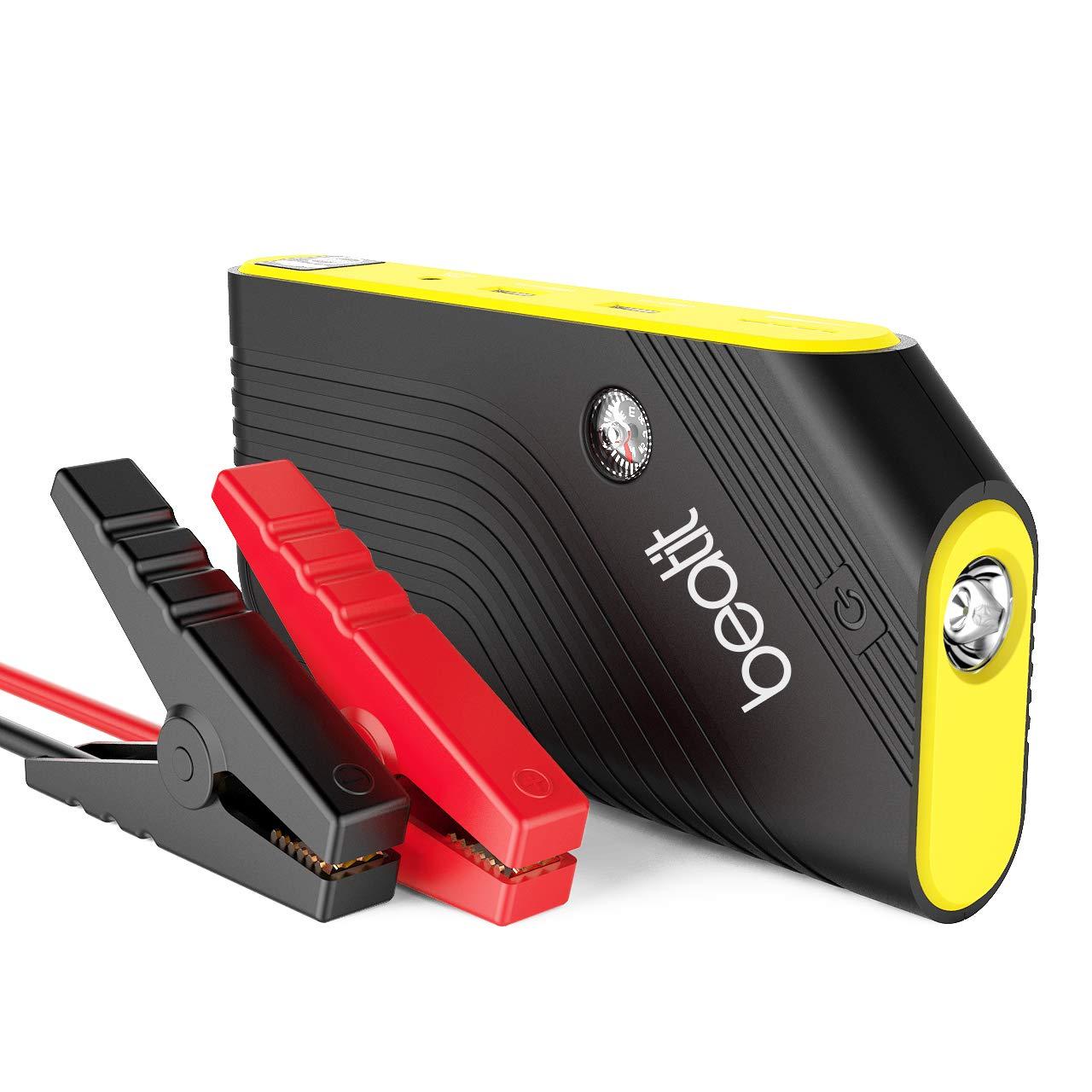 600A Auto Starthilfe Tragbare BEATIT Jump Starter (bis zu 5.5L Benzin, 4.0L Diesel) Starthilfe Power Pack Starthilfe Powerbank 14000mAh Dual USB Ausgä nge mit Kompass, LED Taschenlampe SOS B9