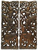 "Wall Art- Traditional Thai Dance Figure and Elephant Wood Wall Decor Design in Dark Brown Finish 35.5""x13.5""x1'' Each, Set of 2 Pcs"