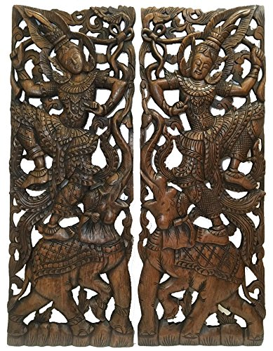 "Wall Art- Traditional Thai Dance Figure and Elephant Wood Wall Decor Design in Dark Brown Finish 35.5""x13.5""x1'' Each, Set of 2 Pcs by Asiana Home Decor"