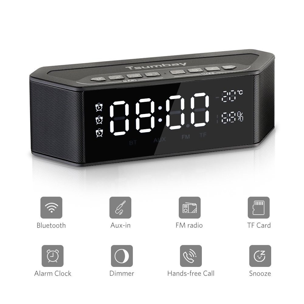 Tsumbay Alarm Clock Radio with Bluetooth Speakers and Digital FM Radio, Stereo Sound, 3 Alarm with Snooze, Large LED Dimmable Display, Multi-Functional Wireless Speakers for Bedroom, Outdoor, Office
