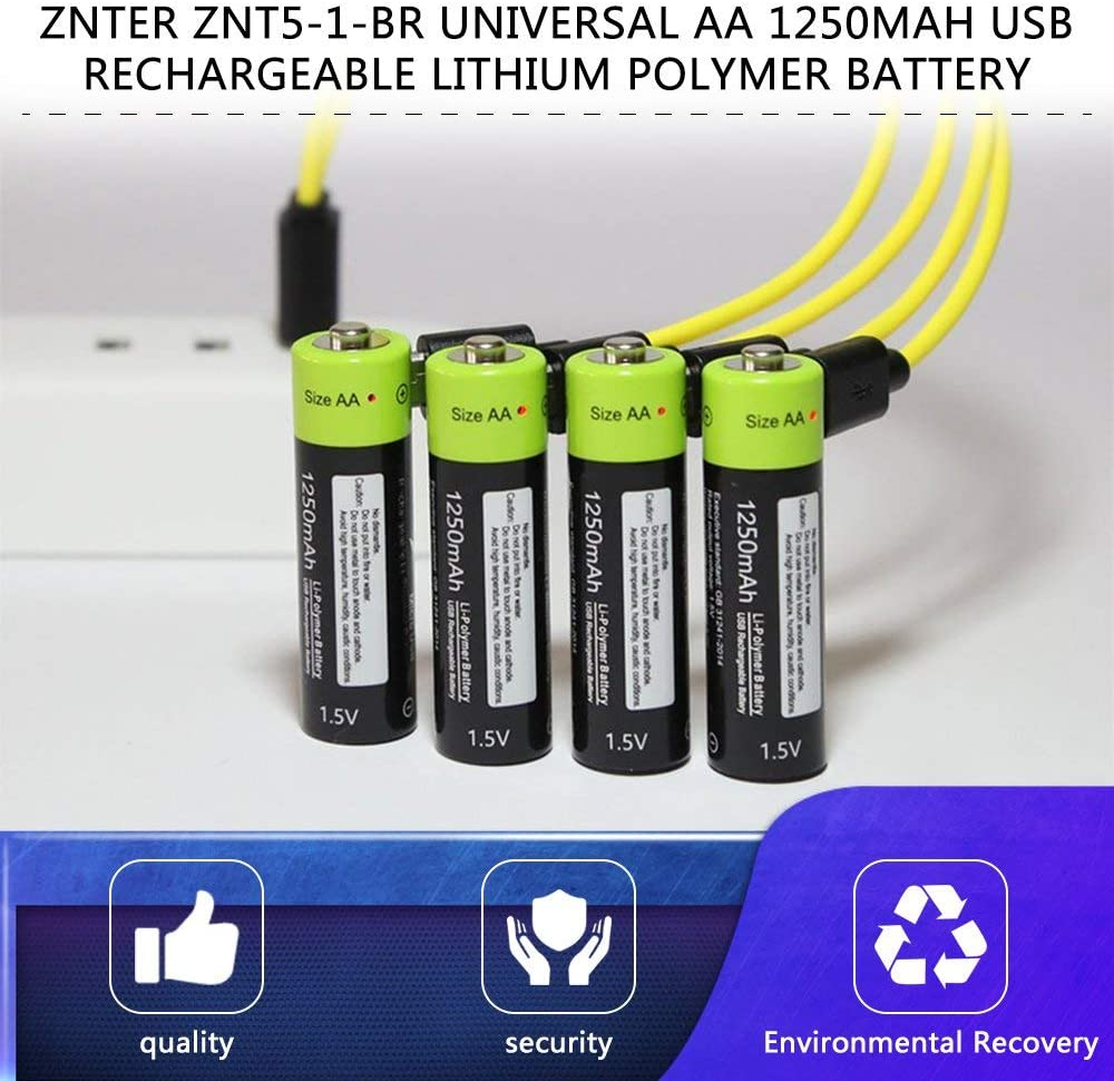 Susanda ZNTER ZNT5-1-BR Universal AA 1.5V 1250mAh USB Rechargeable Lithium Polymer Battery Charged by Micro USB Cable