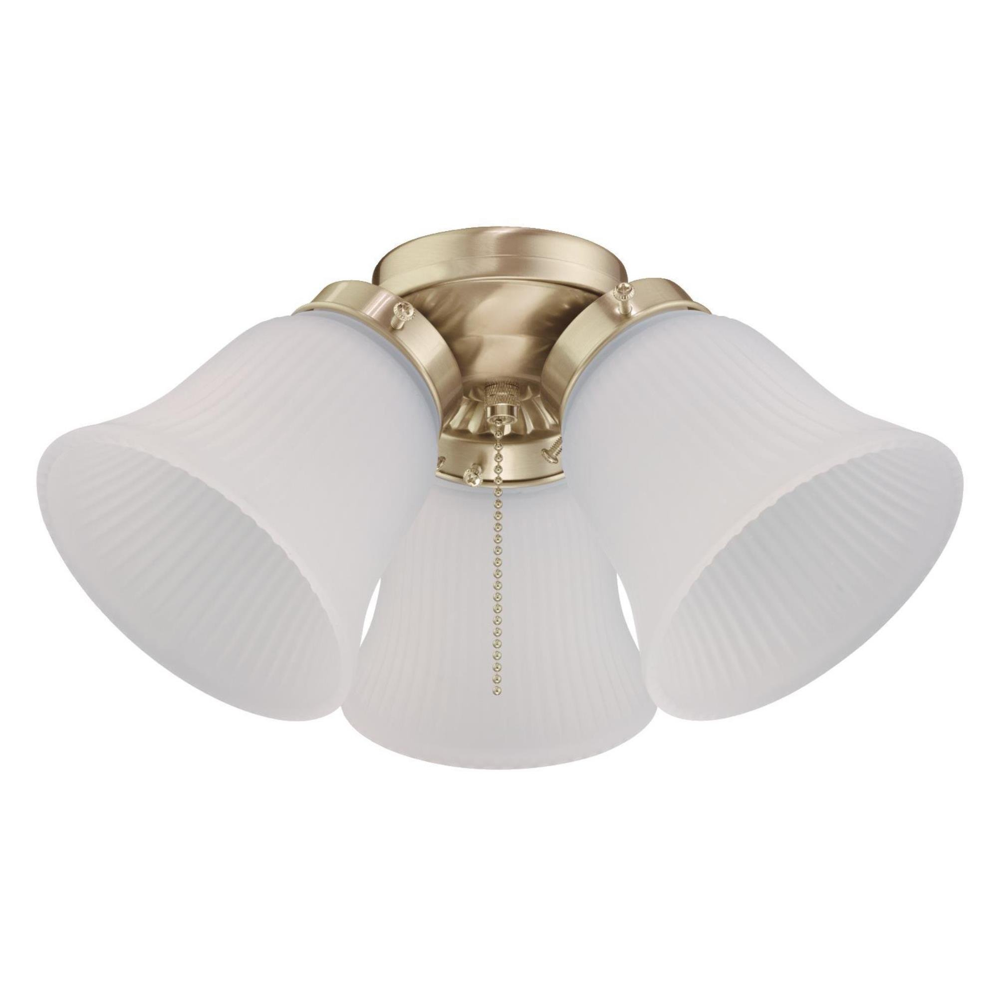 Westinghouse 7784500 Three LED Cluster Ceiling Fan Light Kit, Polished Brass Finish with Frosted Ribbed Glass