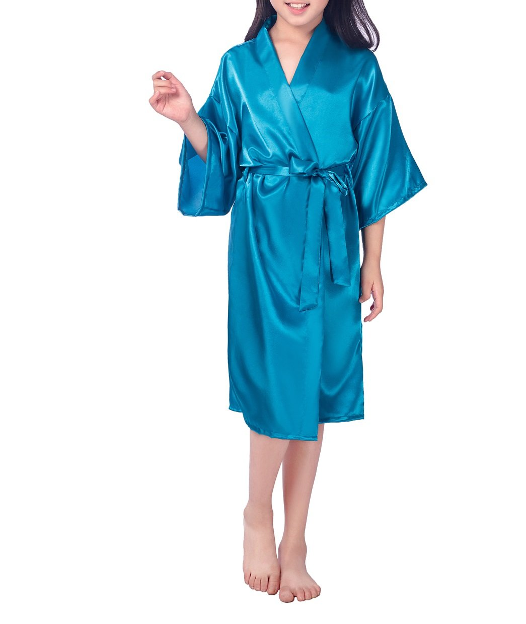 SexyTown Girls' Kimono Robe Satin Bridal Nightgown For Wedding Party Birthday 10 Peacock Blue