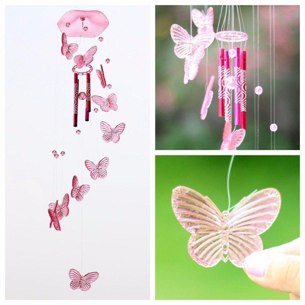 Amazon.com: Jaylyn Crystal Mariposa viento campana colgante ...