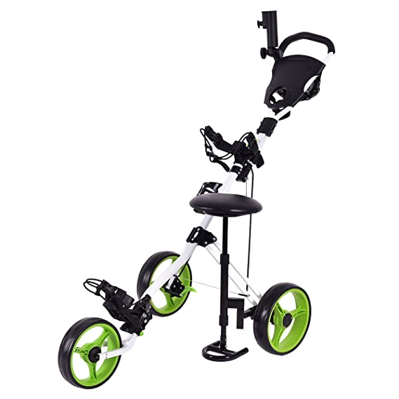 Review TANGKULA Golf Cart Swivel Foldable 3 Wheel Push Pull Cart Golf Trolley with Seat Scoreboard Bag Golf Push Cart