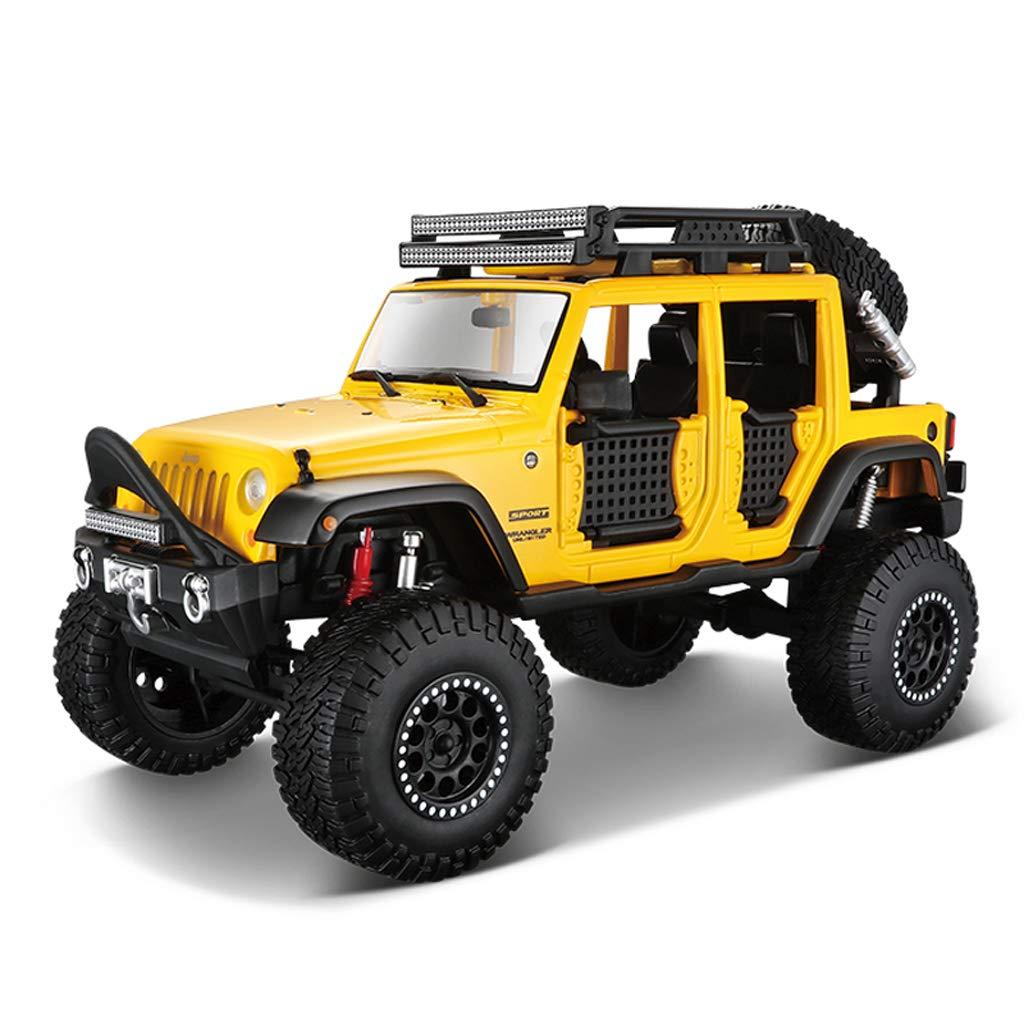 IAIZI 車のモデルジープラングラーオフロード車1:24シミュレーション合金ダイカスト玩具モデルカーコレクションジュエリー (Color : Yellow) B07RKSXRW5 Yellow
