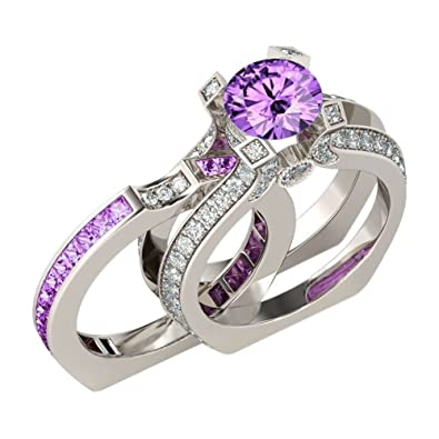dc6427622fb Amazon.com  La Phaca Vintage Bridal Ring Set Simulated Birthstone Cubic  Zirconia Women Ring  Jewelry