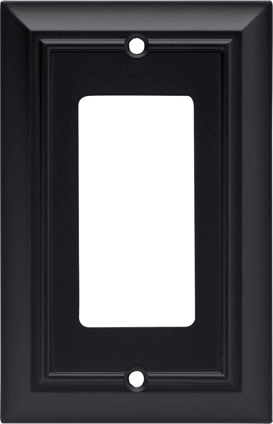 Architectural Single Decorator Wall Plate / Switch Plate / Cover, Flat Black, Packaging May Vary