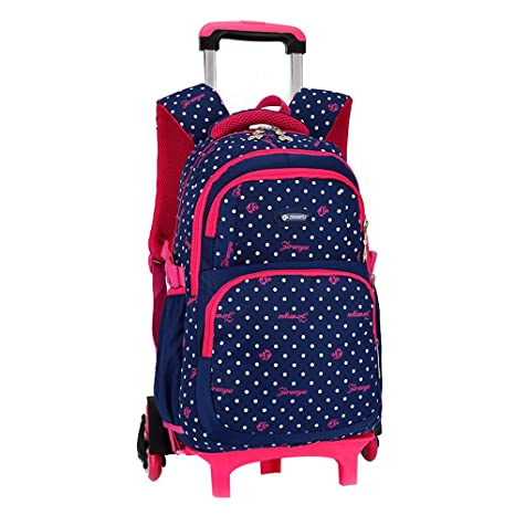 Venta caliente MinegRong niños mochilas escolares rueda triple Trolley Mochila patrón Dots Mochila escolar Mochila impermeable