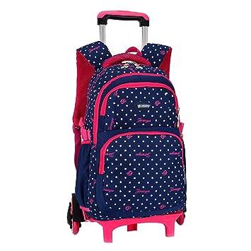 Venta caliente MinegRong niños mochilas escolares rueda triple Trolley Mochila patrón Dots Mochila escolar Mochila impermeable desmontable para niñas,azul ...