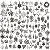 TR.OD Wholesale 100 Pieces Tibetan Silver Plated Mixed Jungle Animal Plant Charms Pendants DIY for Jewelry Making and Crafting