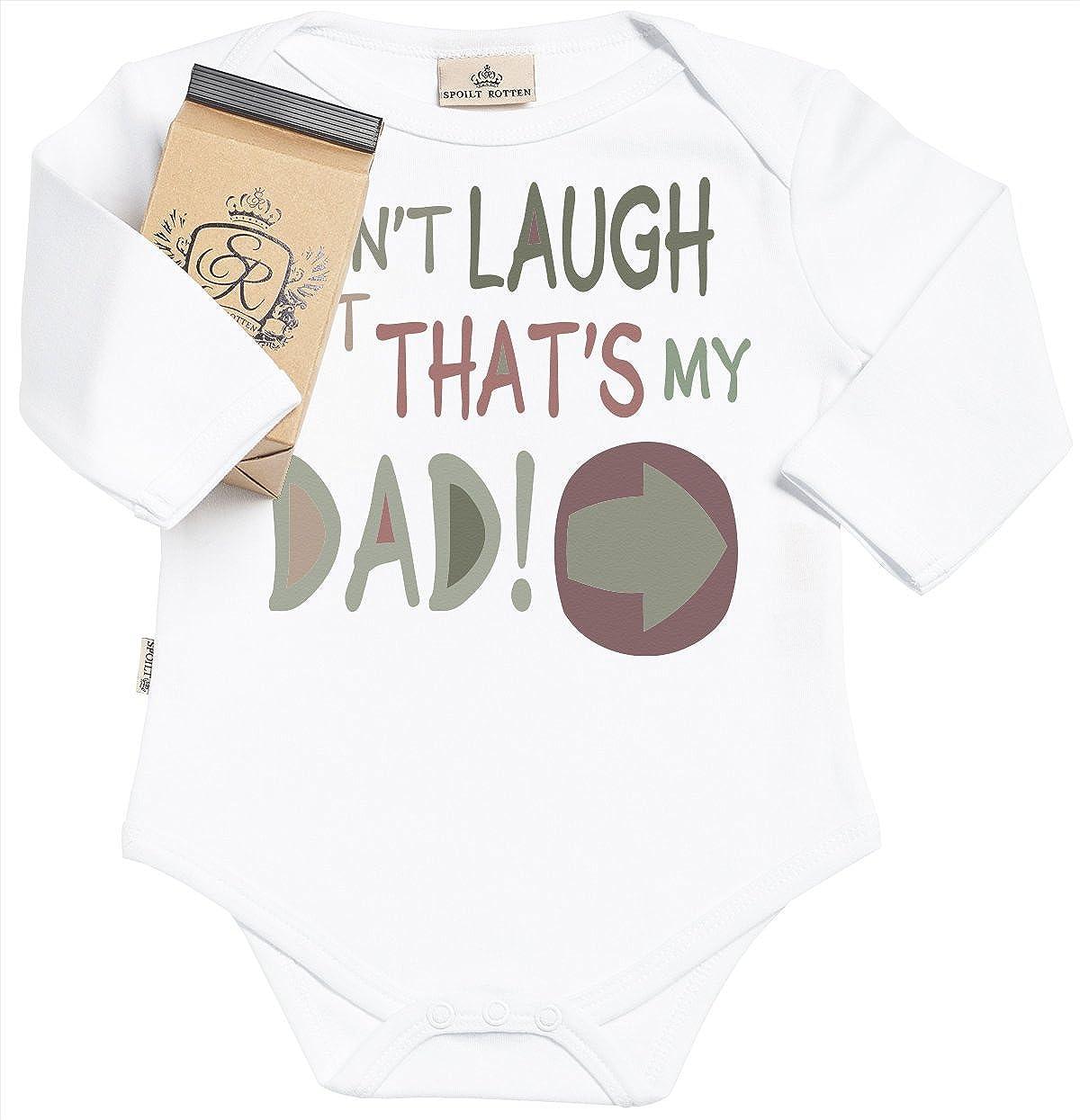 SR - estuche de presentación - Dont Laugh But Thats My Dad body para bebé niño - body para bebé niña - conjunto Regalo del bebé - Blanco: Amazon.es: Ropa y accesorios
