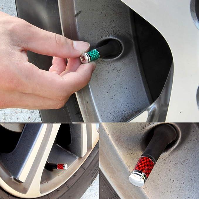 Universal Fit f/ür Autos Fahrrad und Fahrrad Gel/ändewagen Grandview Autoreifen Ventilkappen Rot Carbon-Reifen Ventilkappen 4 St/ück Trikes Motorr/äder Staubdichte Abdeckung