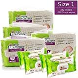 Happy Little Camper Ultra Absorbent Hypoallergenic Natural Diapers, Size 1, 252 Count, Non-GMO Cotton Wipes, 288 Count, Monthly Supply Combo Bulk Pack