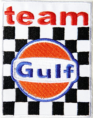 F1 Racing Girl Costume (Gulf Motor Oil Fuel Gas Station Pump Racing Logo Sign Racing Patch Iron on Applique Embroidered T shirt Jacket Costume BY SURAPAN)