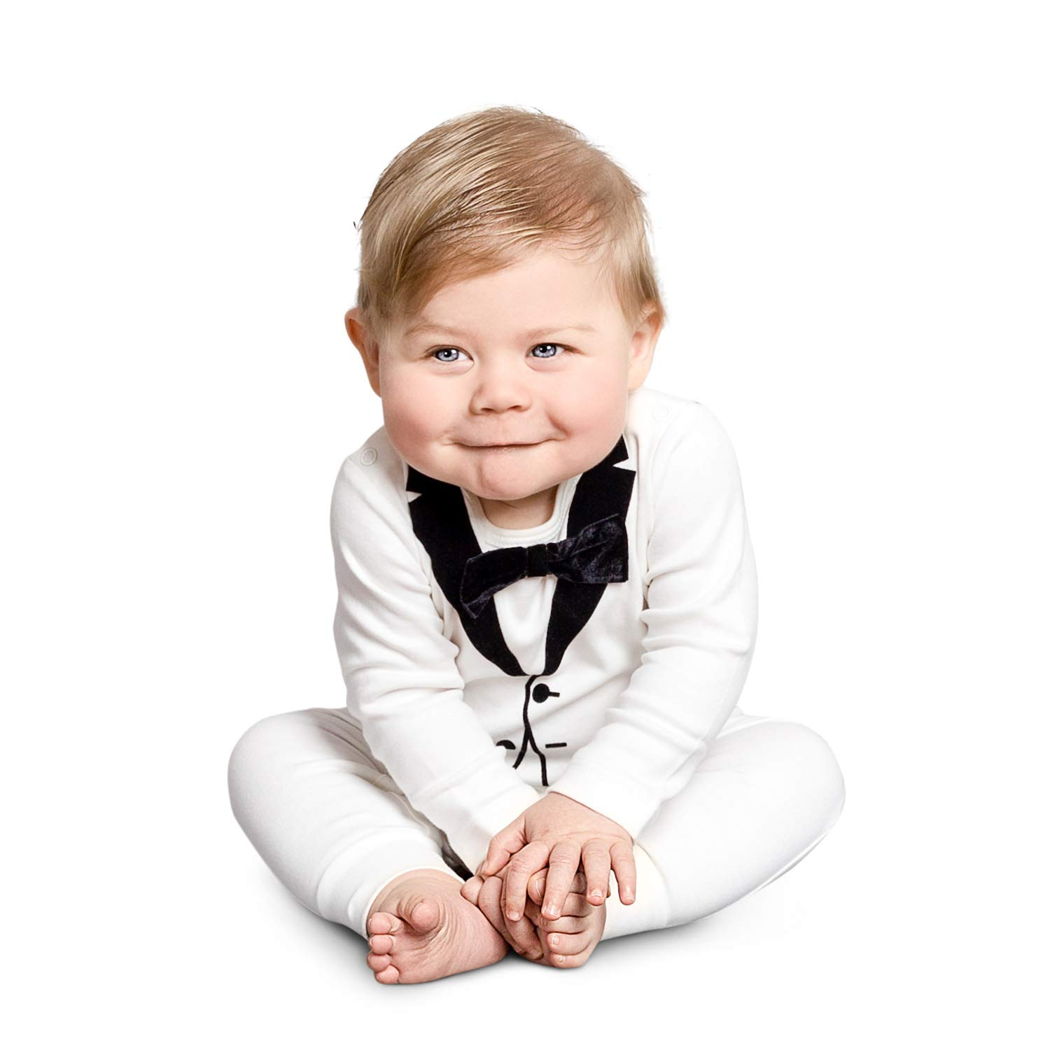 The Tiny Universe Tuxedo Onesie for Fancy Baby Boys, Satin Bow-Tie, Original Swedish Design (James Bond White, 6-9 Months (74)) by The Tiny Universe