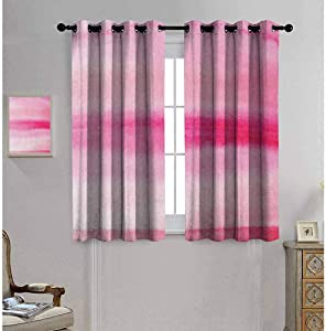 "Mademai Peach Thermal Insulating Blackout Curtain Hand Drawn Watercolor Brush Strokes Artsy Pattern Wet Paint Style Romantic Image 63""x 72"" Pink Hot Pink"