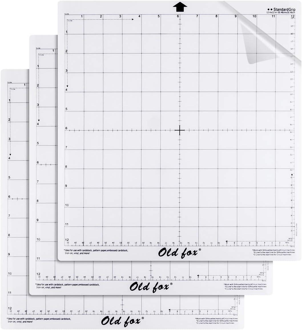 Alfombrilla de corte de 3 piezas para máquina de corte Silhouette Cameo y Cricut, empuñadura estándar de 12 x 12 pulgadas Craft con báscula Alfombra de corte de vinilo de reemplazo flexible: