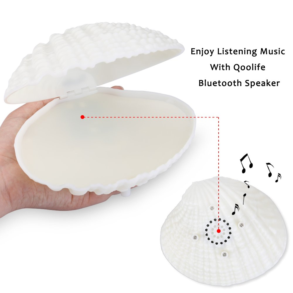 Shell LED Night Light Bluetooth Speaker-Qoolife 2-in-1 Functional USB Rechargeable Colorful Shell Music Lamp Music Desk Light for Children Room Home Decor