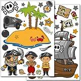 """Set de stickers muraux Wandkings """"Pirates à la chasse au trésor"""" - 50 autocollants sur 2 feuilles A4"""