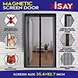 Magnetic Screen Door,Removable Screen Door with Full Frame Velcro and Heavy Duty Mesh Curtain,Fits Door Openings up to 34 x 82 Inch MAX(Black)
