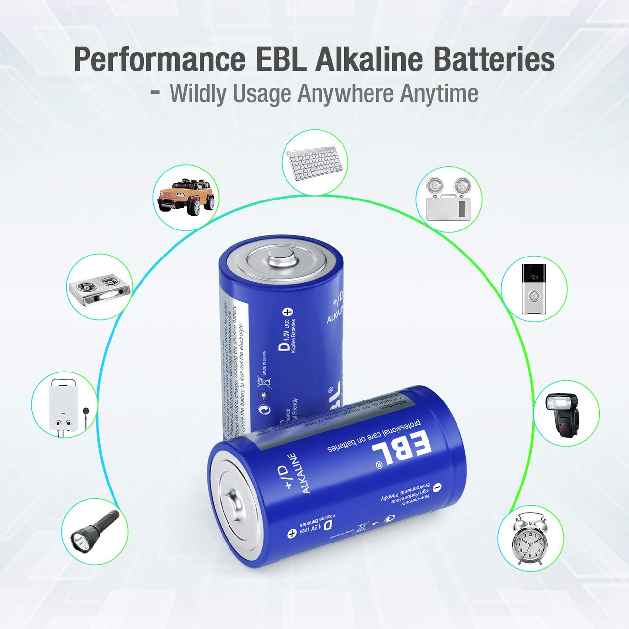 EBL D Cell Batteries Alkaline D Batteries -1.5V Alkaline Batteries Durable and Lasting Performance 8 Count