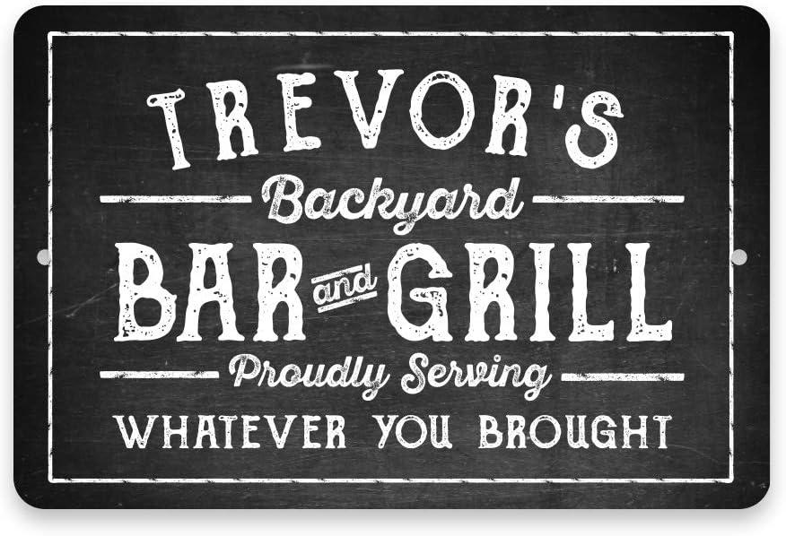 Pattern Pop Personalized Chalkboard Look Bar & Grill Metal Sign 8 X 12