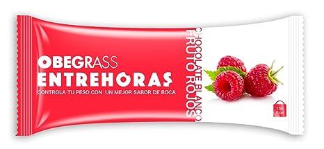 Obegrass Barrita Saciante Entrehoras, Chocolate Blanco y Frutos Rojos - 1 Unidad