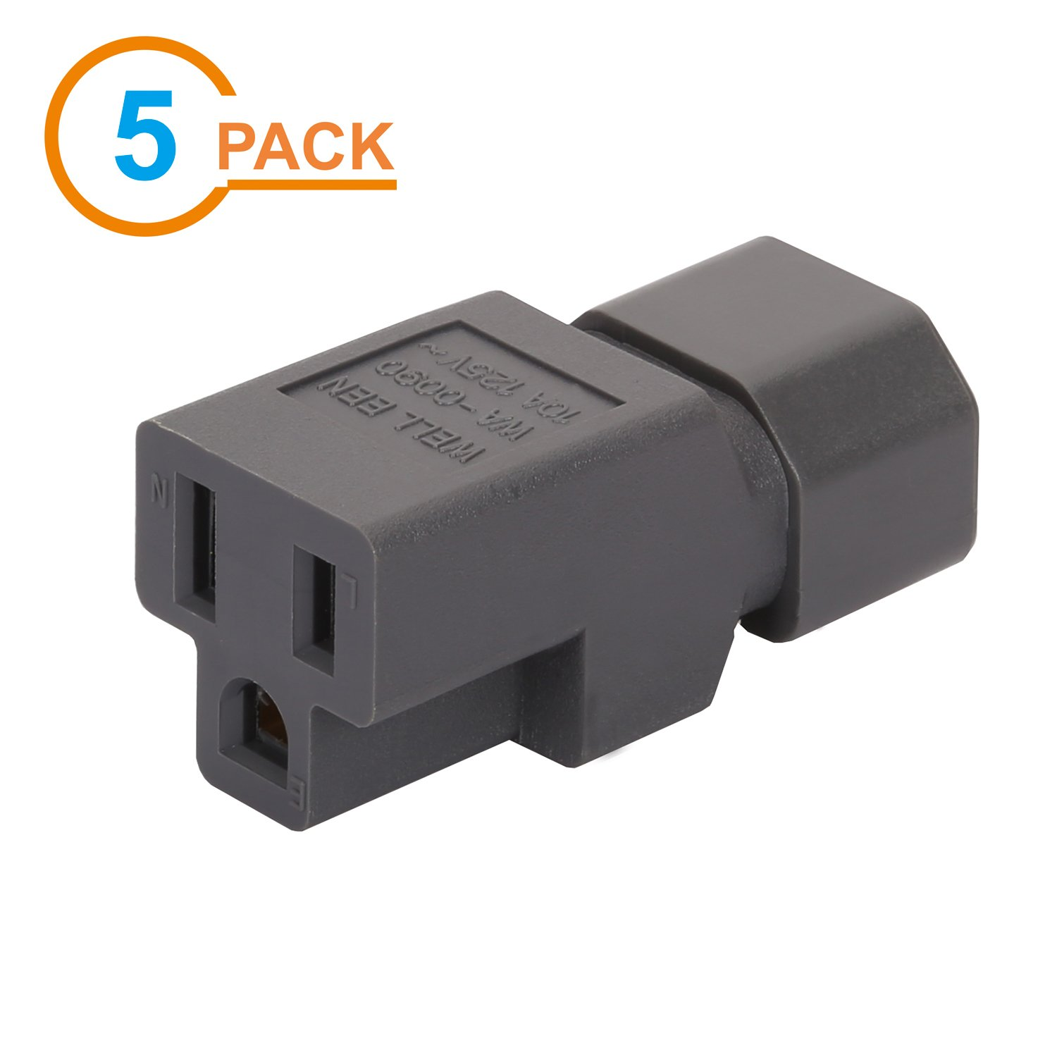 [5Pack] Gray Color IEC 320 C14 to Nema 5-15R AC Adapter, Vellcon C14 to 5-15R USA 3Pole Power Adapter, IEC 3Pole Male to USA 3Pole Female AC Converter, Gray Color