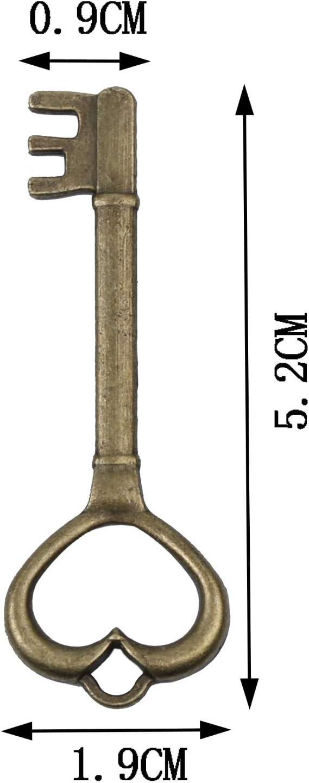 30PCS New Bulk Heart Key Style Vintage Bronze Tone Alloy Charms Finding 52mm