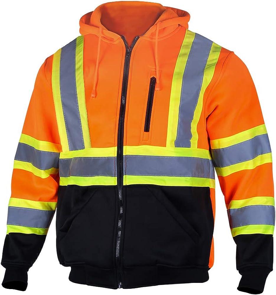 VENDACE Men's ANSI Class 3 High Vis Safety Reflective Sweatshirt Wool Fleece Zipper Jacket Hoodie with Black Bottom: Clothing