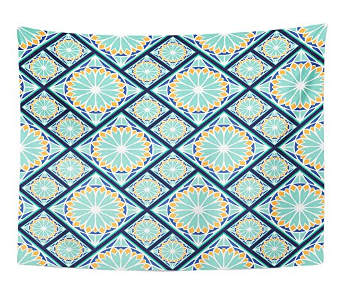 Emvency Tapestry Colorful in Spanish Style Spain Tilework Portugal Ceramic Tiles Azulejo Indigo Home Decor Wall Hanging 60'' x 80'' Inches Print For Living Room Bedroom Dorm by Emvency