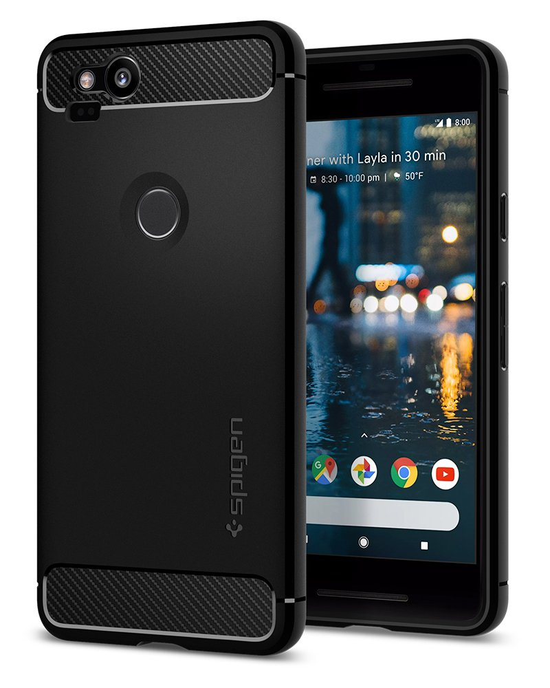 Spigen Rugged Armor Google Pixel 2 XL Case with Resilient Shock Absorption and Carbon Fiber Design for Google Pixel 2 XL (2017) - Black by Spigen (Image #1)