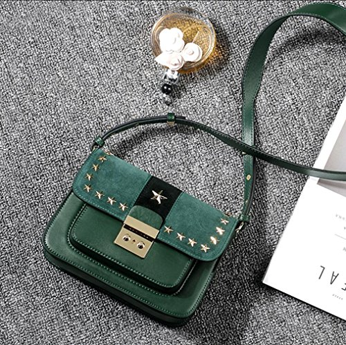 Elegant Package Lady Green Handbags Tingting Leather Pentagram Shoulder Cowhide Diagonal Bag Rivet Red Genuine Handbag xnwnzFg