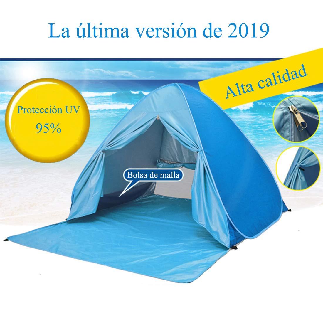 YINGJEE Tienda de Playa Pop Up Tienda Campa/ña Playa Plegable y Port/átil con Protecci/ón Sol Anti UV SPF 50+ Pop-up Beach Tent para Vacaci/ón Parque para 2-4 Personas Familia Beb/é Ni/ños