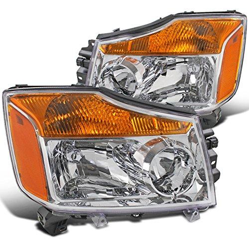 Nissan Armada Diamond (Spec-D Tuning 2LH-TIT08-RS Nissan Titan Pickup Armada Amber Chrome Diamond Headlights)