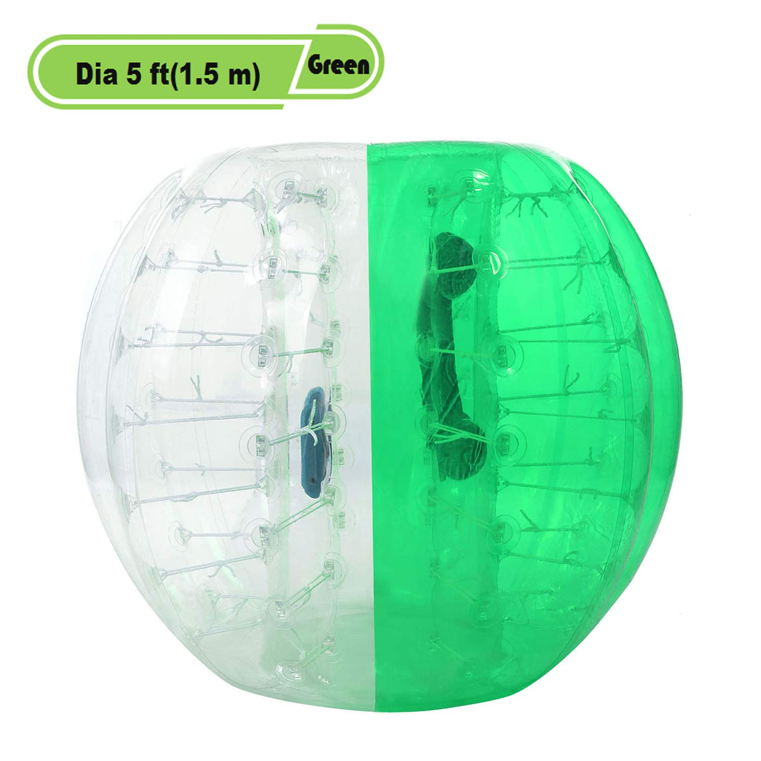 Yiilove Inflatable Bumper Ball 4 ft/5 ft(1.2/1.5 m) Bubble Soccer Ball Transparent Material Human Knocker Ballfor Adults and Kids (Dia 5 ft(1.5 m)-Green)