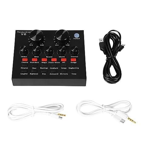 Portátil Tarjeta de sonido USB de interfaz audio Efectos de ...