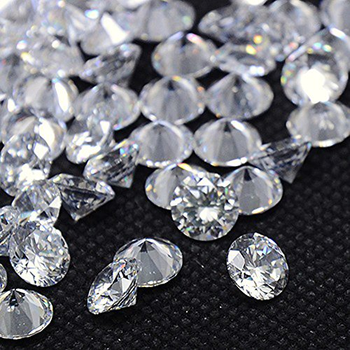 (NBEADS 1000pcs Cubic Zirconia Cabochons, Grade A, Faceted, Diamond, Clear, 2mm)