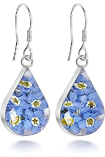 Sterling Silver Tear Drop Earrings Made With Real Forget Me Nots