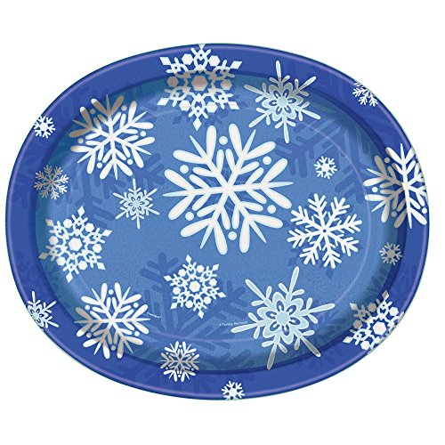 Unique Industries Winter Snowflake Holiday Oval Paper Pla...