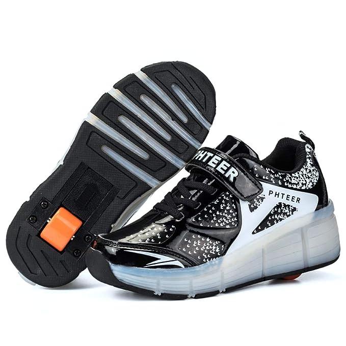 CHARMSTEP LED Luz Zapatillas con Ruedas Unisex Niños Parpadea Deportes al Aire Libre Skateboard Sneaker Automáticamente Retráctiles Zapatos de Roller para ...