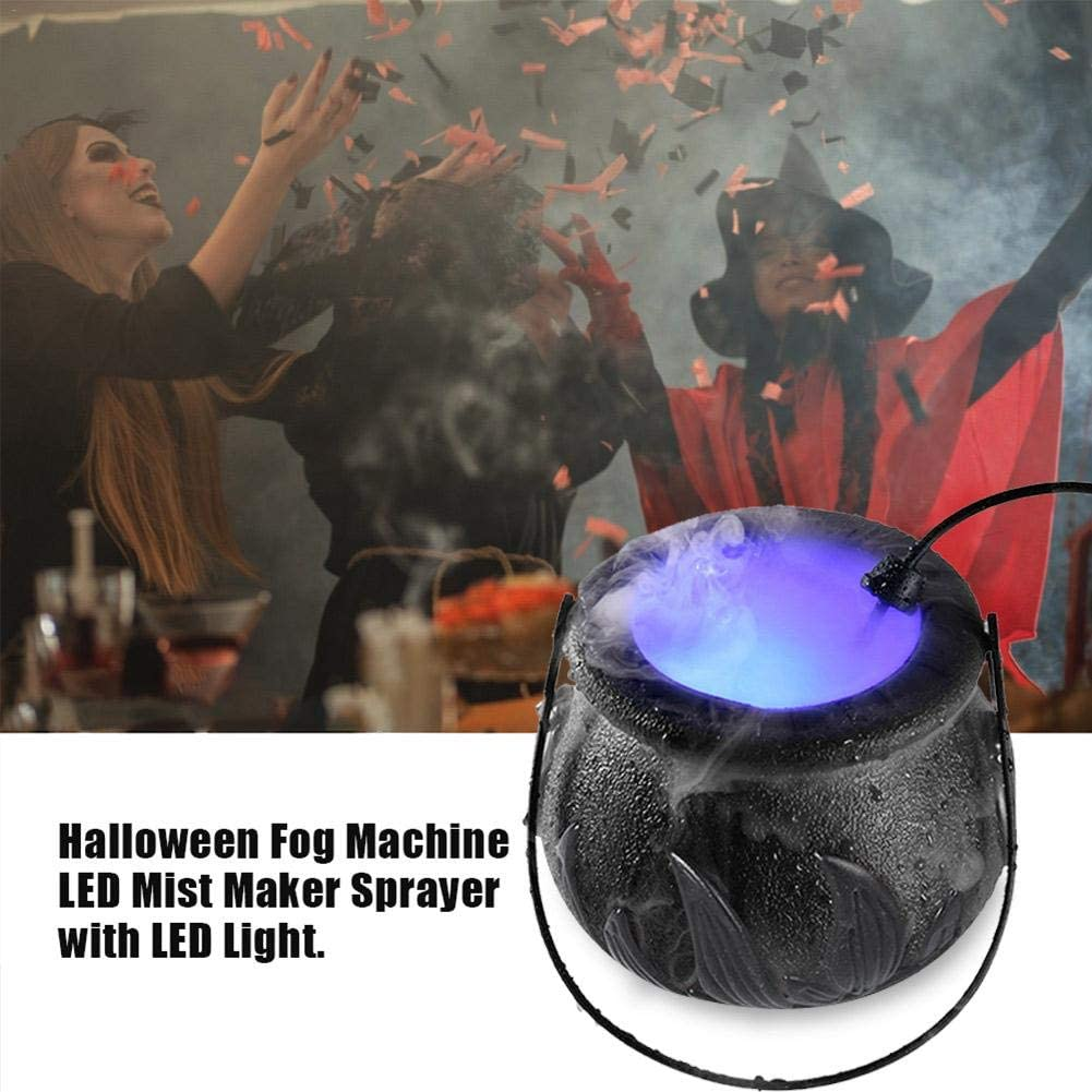 LED Mist Maker Sprayer Decoration for Halloween Party 12 LED Cauldron Smoking Black Witch Kettle Halloween Cauldron Mister Fog Machine with LED Light Halloween Witch Cauldron Fog Maker