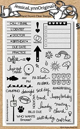 Clea rTransparent Stamp Calendar Stencils DIY Seal Card Scrapbook for Crafts Decorating Notebooks 6.3 x 4.33 Inch Rubber Stamps