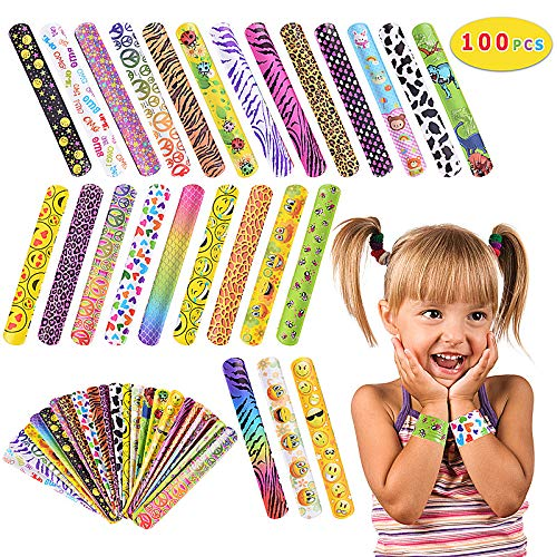 Max Fun 100PCs Slap Bracelets Party Favors (25 Designs) with Colorful Hearts Emoji Dinosaur and Animal Print Design