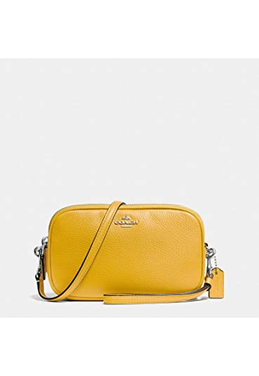 67a9df258bc1 COACH Women s Pebbled Leather Crossbody Clutch Sv Yellow One Size ...