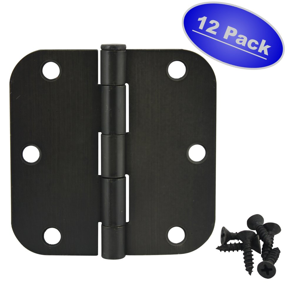 Cosmas Oil Rubbed Bronze Door Hinge 3.5'' Inch x 3.5'' Inch with 5/8'' Inch Radius Corners - 12 Pack