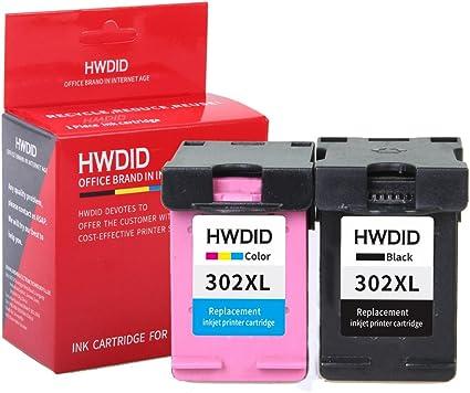 hwdid 302 x l cartuchos de tinta (1 negro y 1 de color, 2 Pack) Compatible para HP 302 XL para Officejet 3830 4650, Deskjet 2130 3630, Envy 4520 – Impresora: Amazon.es: Oficina y papelería