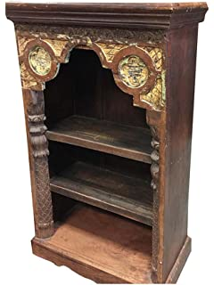 Antique Indian Arch Bookshelf Book Case Bookshelf Arched Frame Teak Patina  India Interiors Design