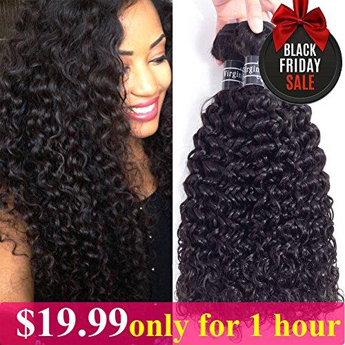 Amella Hair Brazilian Curly Hair Weave 3 Bundles (14 16 18,300g) Brazilian Virgin Kinky Curly Human Hair Weave 8A 100% Unprocessed Hair Weft Extensions Natural Black Color 100% Human Hair Weave